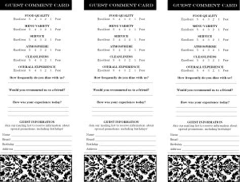 restaurant comment card word template restaurant comment card marketing archive
