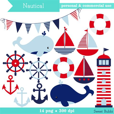 nautical boat themed clipart - Boat Themed Clipart