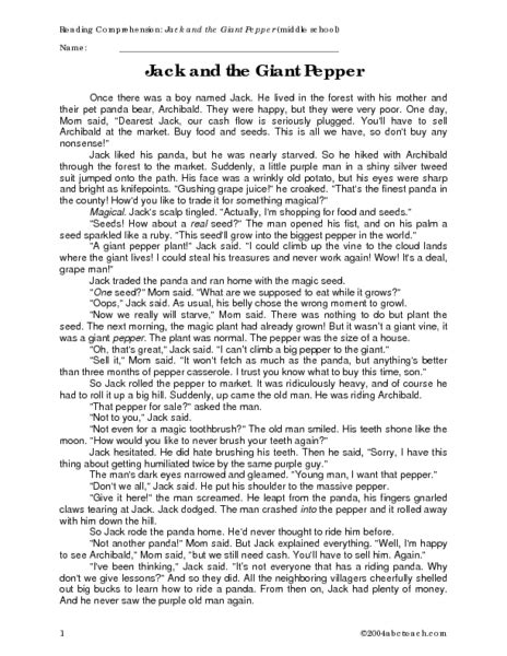 Reading Comprehension: Jack and the Giant Pepper Worksheet