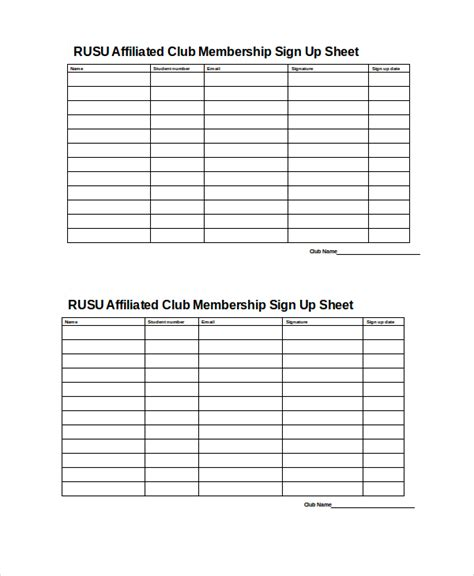 Membership Sign Up Template Sign Up Sheet 16 Free Pdf Word Documents Download Free Premium Templates