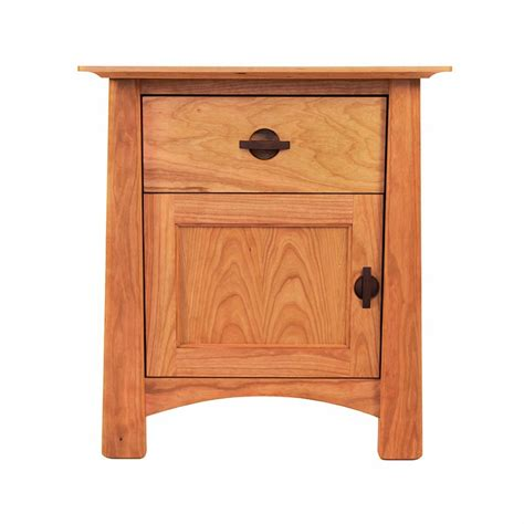 Cherry Nightstand With Drawers Cherry Moon 1 Drawer Stand With Door Bedroom Solid Wood Side Table Made In Usa
