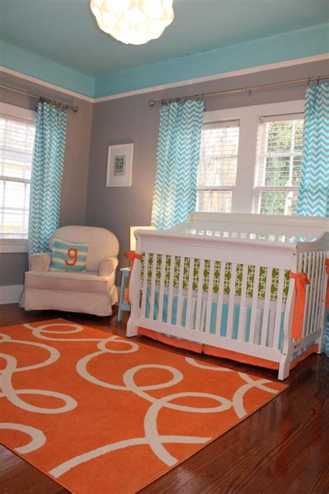custom nursery by cool color combo orange and aqua