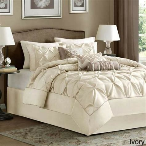 Beautiful White Comforter Sets by Beautiful Luxurious Modern Ruffled Ruched Pleated Ivory