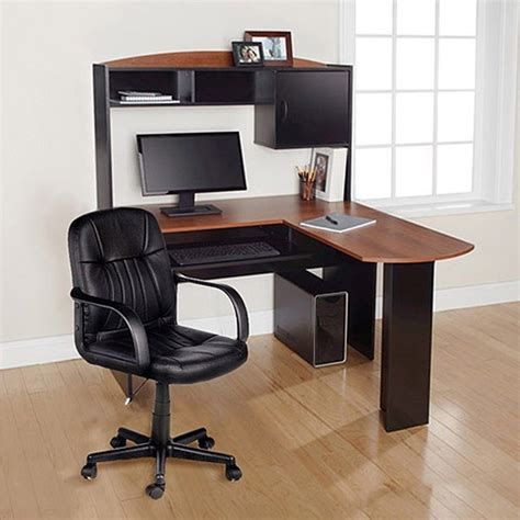 Computer Desk Chair Corner L Shape Hutch Ergonomic Study Corner Desks With Hutch For Home Office