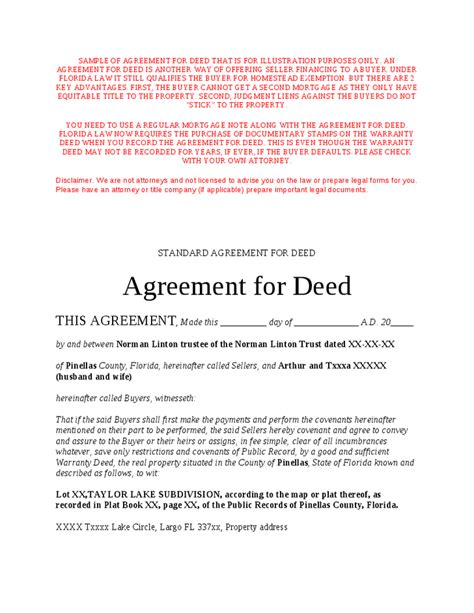 blank contract for deed
