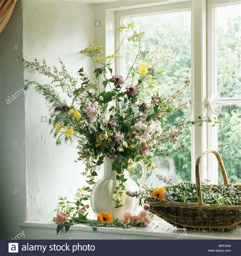 Flowers For Kitchen Windowsill Still Of Vase Of Summer Country Flowers On Kitchen