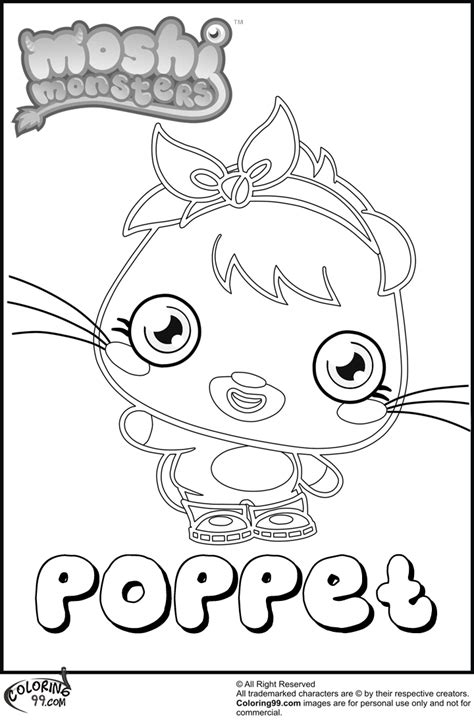 moshi monsters coloring pages poppet poppet moshi monster coloring pages team colors