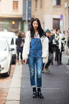 Overall Denim Panda fitted overalls with a fuzzy sweater biker boots streetstyle fashion