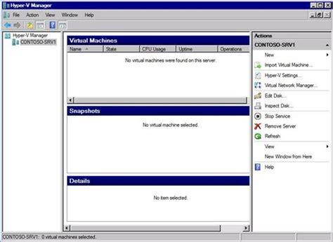hyper v console windows server 2008 hyper v machine configuration