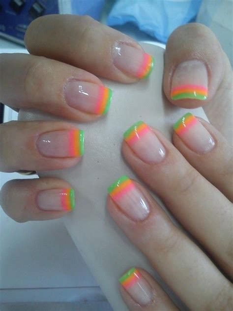 bright pattern nails top 25 best neon french manicure ideas on pinterest