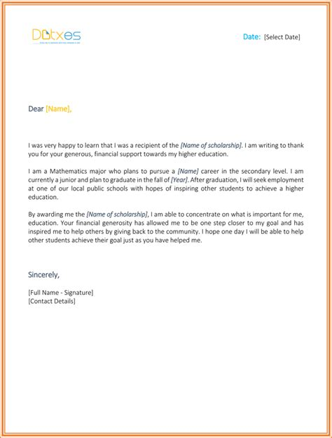 Scholarship Thank You Letter High School Scholarship Thank You Letter 7 Sle Templates You Should Send