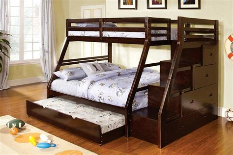 twin over queen bunk bed with stairs twin over full ellington dark walnut solid wood step bunk