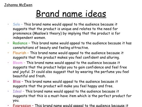 themes for brand names planning for advert