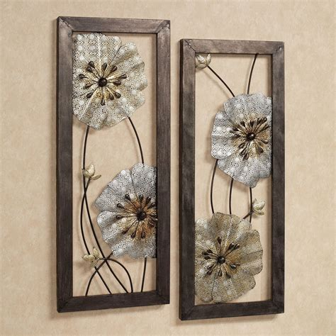 metallic wall decor malacia openwork floral metal wall set