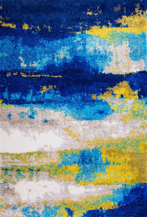 colorful shag rugs abstract blue yellow modern shag rug contemporary bright colorful shaggy carpet ebay