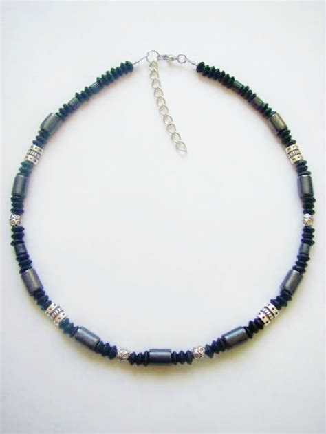 black hematite s surfer style beaded necklace