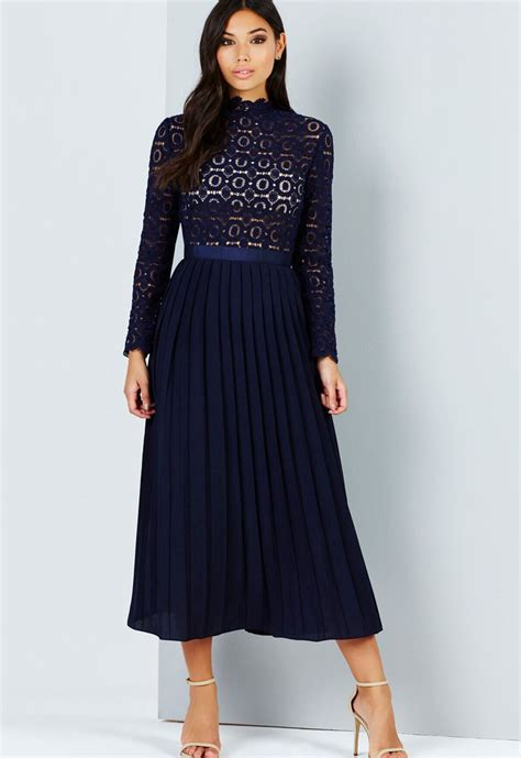 navy crochet lace midi dress with pleated skirt elsie s