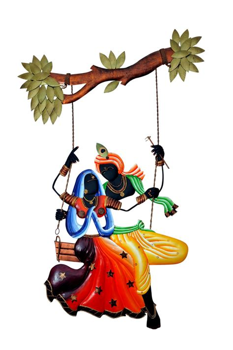 Home And Decor Online Shopping Buy Radha Krishna Under Jhula Wall Hanging Online Shopping