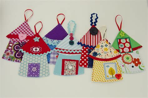 fabric house ornaments sweet