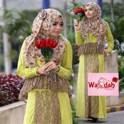 Grosir Wardah emery by wardah hijau baju muslim gamis modern