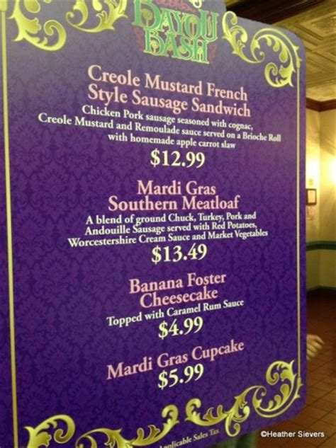 mardi gras dinner menu dining in disneyland more new orleans bayou bash eats