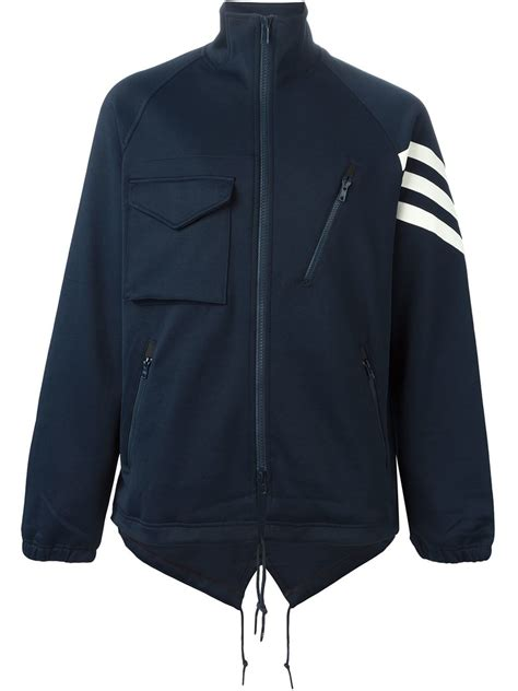 y 3 high collar zip jacket in blue for lyst