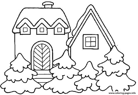 winter coloring pages free large images house winter 709e coloring pages printable