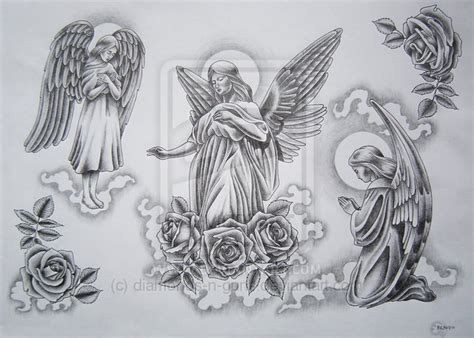tattoo flash of angels angels flash 2 by diamonds n guns on deviantart