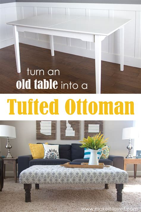 ottoman that turns into a table diy tufted fabric ottoman from an table