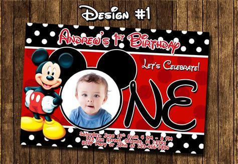 mickey mouse 1st birthday free printable invitations mickey mouse baby birthday photo invitations