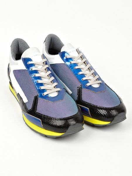Raf Simons Shoes Blue by Raf Simons Mens Panelled Running Sneakers In Blue For Lyst