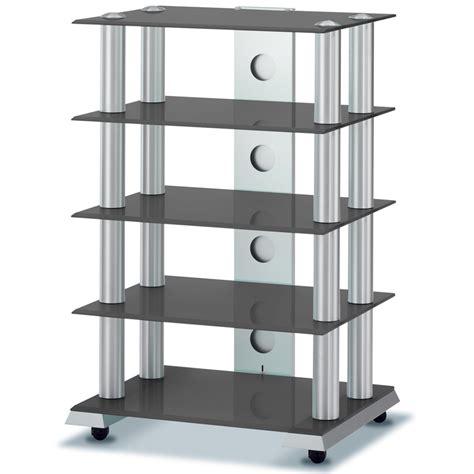 Hifi Shelf by Spectral Classics St905 Black Glass Aluminium 5 Shelf Hi