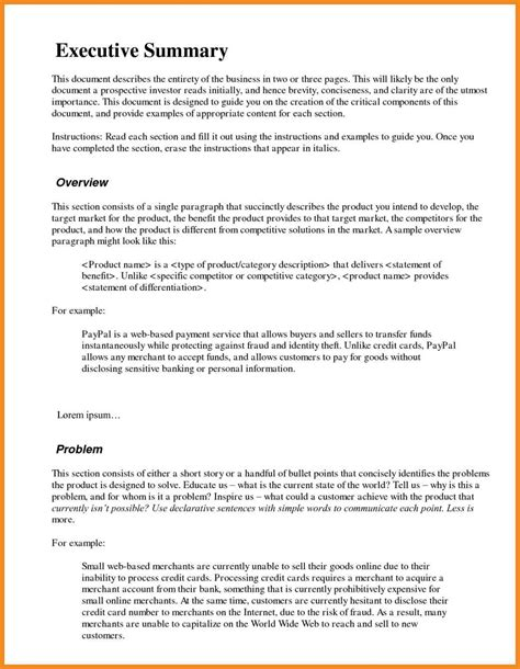 executive summary template for business plan exle executive summary resume exles