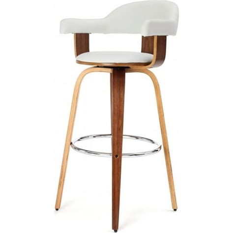 white leather swivel bar stools buy walnut veneer and white faux leather bar stool from