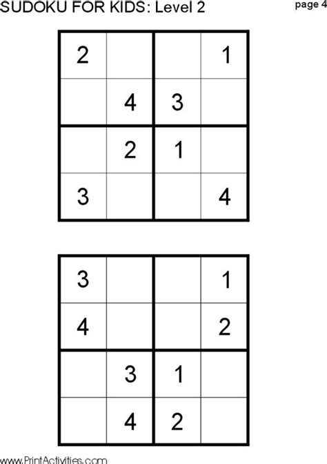 printable junior sudoku free kid sudoku puzzle level 2 page 4 kiddo activities