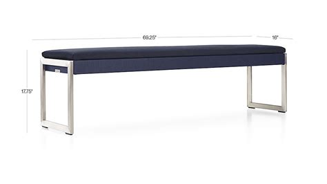 crate and barrel bench seat dune dining bench with sunbrella 174 cushion sunbrella navy