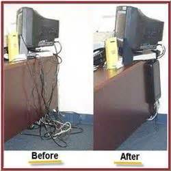 Cableorganizer Behind Desk Organizes Tangled Wires Of How To Organize Wires On Desk