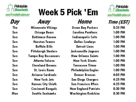 printable nfl schedule week 5 nfl pick em week 5 pro football pick em week 5