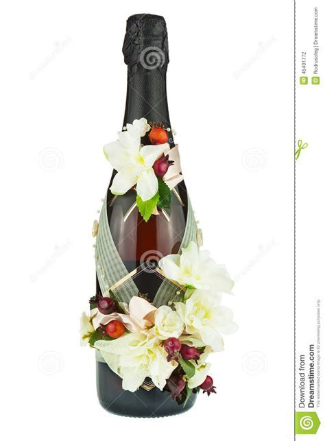 Champagne Bottle With Wedding Decoration Of Flower