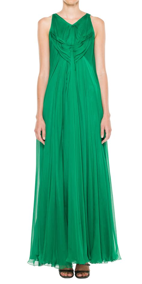 Chiffon Dress Green 30799 lyst max silk mesh chiffon floor length dress in green