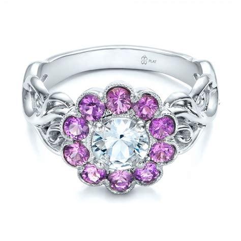 custom flower top white and purple sapphire engagement