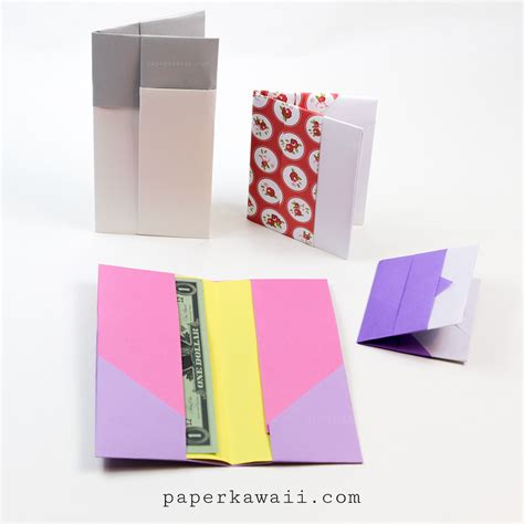 How To Make A Origami Wallet - origami wallet 2 versions paper kawaii