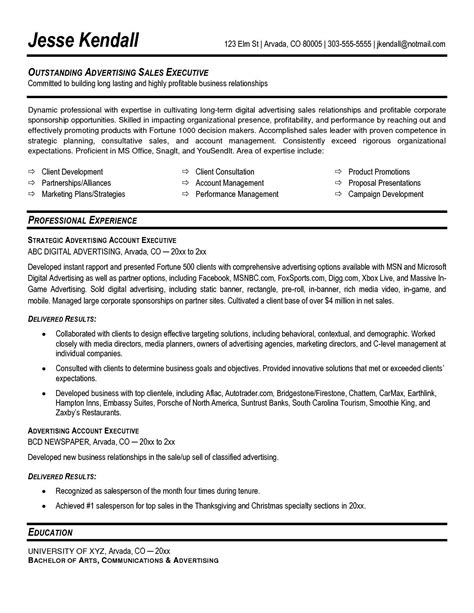 account executive resume template account executive resume sle free sles exles