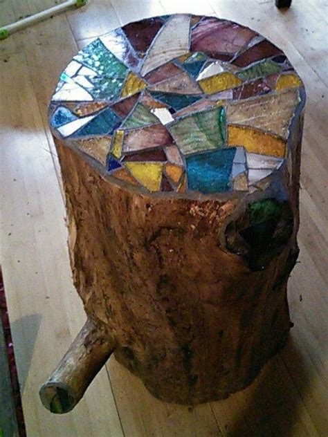 Garderobe Aus Paletten 1649 by Stump Table Stained Glass Mosaic Top Expired Etsy