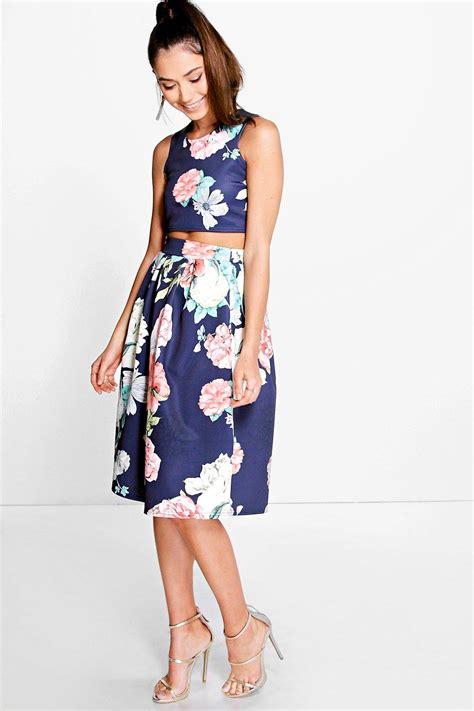 boohoo womens visa floral box pleat midi skirt co ord set