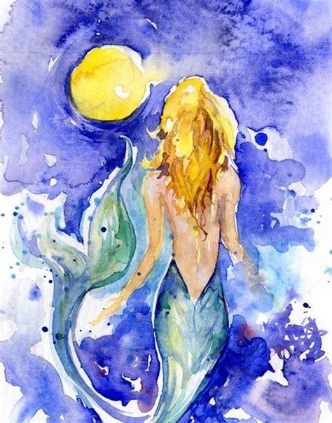 mermaid painting mermaid watercolor painting original sea in