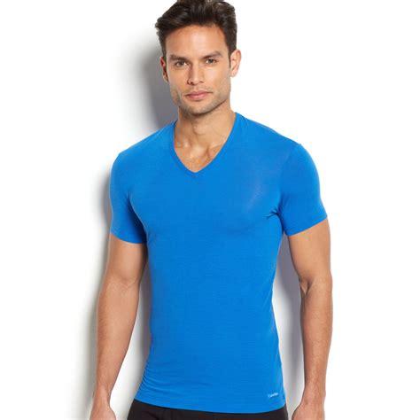 V Neck Expression Tshirt calvin klein mens vneck modal tshirt in blue for cerulean sky lyst