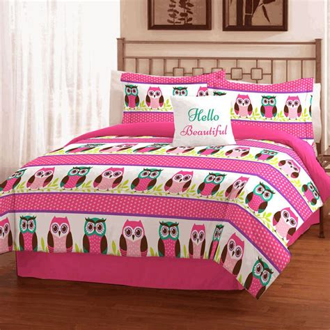 girls bedding twin girls teen pink owls bedding twin or full queen comforter