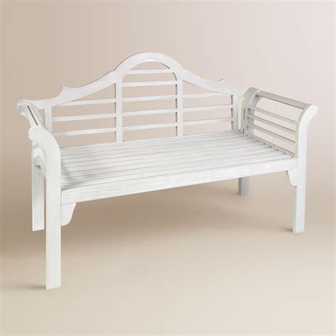 white bench outdoor white wood lutyens outdoor folding bench world market