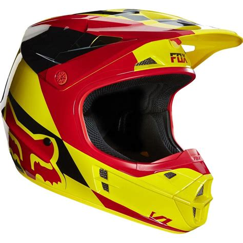 fox v1 motocross fox v1 mako motocross mx helmet yellow red matt
